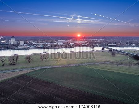 Aerial view of the street and bridge to Krefeld, Germany