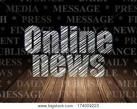 News concept: Glowing text Online News in grunge dark room with Wooden Floor, black background with  Tag Cloud