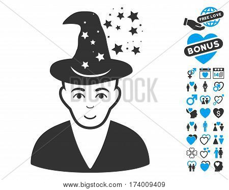 Magic Master pictograph with bonus lovely icon set. Vector illustration style is flat iconic blue and gray symbols on white background.