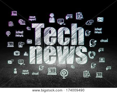 News concept: Glowing text Tech News,  Hand Drawn News Icons in grunge dark room with Dirty Floor, black background