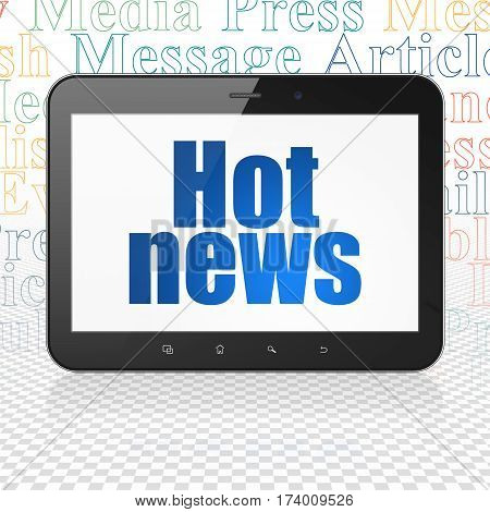 News concept: Tablet Computer with  blue text Hot News on display,  Tag Cloud background, 3D rendering
