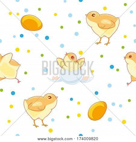 Easter seamless pattern with cute chickens and valuewise from the egg the chick on the background of colored confetti. Fabric design, Wallpaper, kids decor.