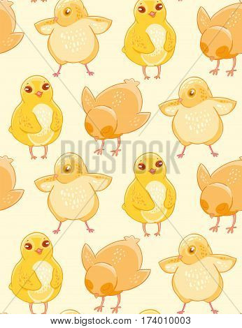 Seamless pattern with cute hand-drawn chicken on a beige background. Fabric design, Wallpaper, kids decor.