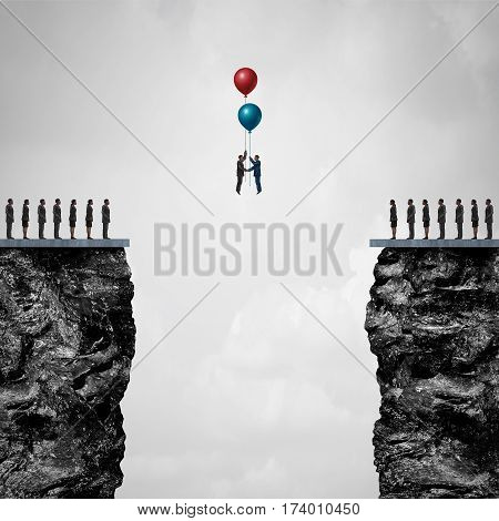 Conquering adversity creating a bridge to business partnership concept as a group of people on one cliff making an agreement with another using air balloons as a metaphor for bridging the gap for success with 3D illustration elements.