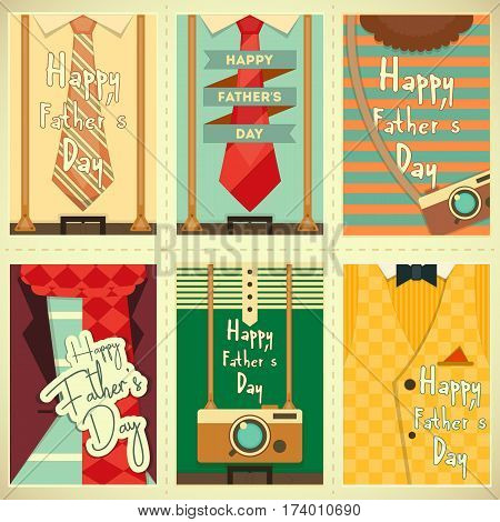 Father's Day Posters Set. Flat Design. Retro Style. Man Hipster Clothing. Vector Illustration.
