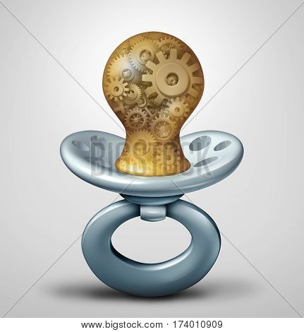 Baby industry and early childhood care business or pediatric care symbol as an infant pacifier with machine gear and cog wheels inside as a parenting metaphor for the inner workings of early child care services as a 3D illustration.