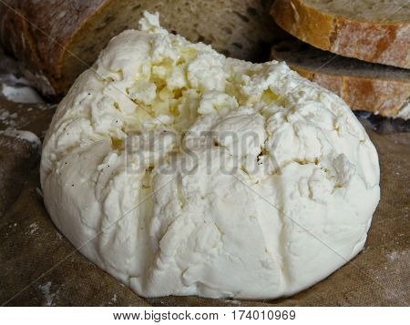 Chevre soft goat home cheese and bread