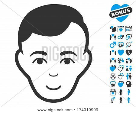 Man Face pictograph with bonus decoration pictograph collection. Vector illustration style is flat iconic blue and gray symbols on white background.
