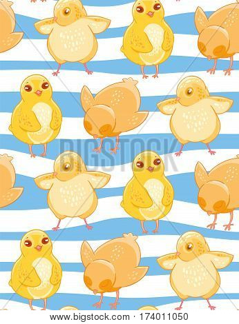 Seamless pattern with cute cartoon yellow chicken blue and white striped background. Fabric design, Wallpaper, kids decor.