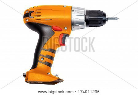 Orange screwdriver isolated on a white background