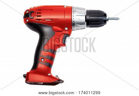 Red screwdriver isolated on a white background