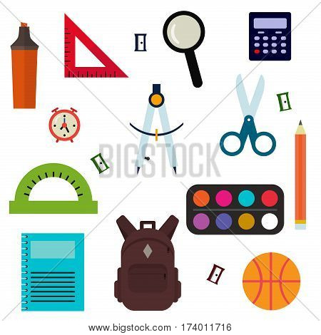 Vector illustration of Back to School supplies. School supplies learning equipment and different school supplies colorful office accessories. Back to school supplies education stationery accessories.