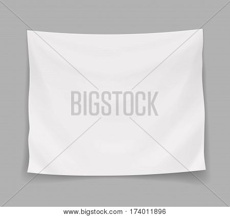White blank banner or hanging empty flag, realistic vector isolated illustration