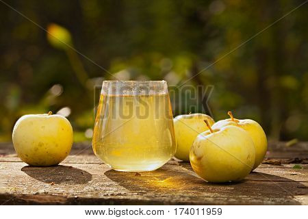 Delicious Fresh Squeezed Apple Juice In  Transparent Glass