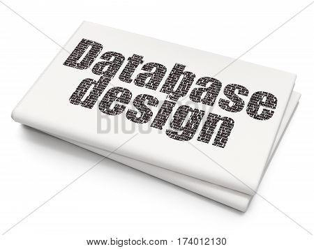 Programming concept: Pixelated black text Database Design on Blank Newspaper background, 3D rendering