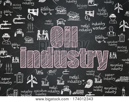 Industry concept: Chalk Pink text Oil Industry on School board background with  Hand Drawn Industry Icons, School Board