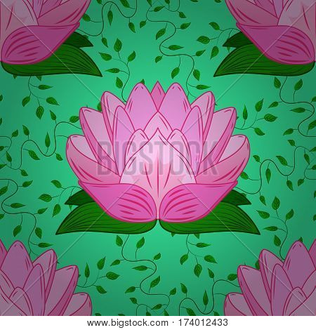 Floral background with stylized waterlily flower. Beautiful nature seamless pattern with pink lotus and green leaves.