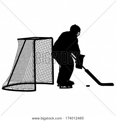 Silhouette of hockey goalkeeper. Isolated on white. Vector illustrations.