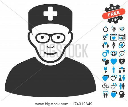 Medical Specialist pictograph with bonus passion icon set. Vector illustration style is flat iconic blue and gray symbols on white background.