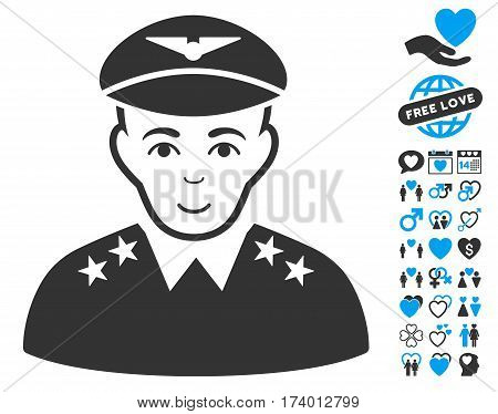 Military Pilot Officer pictograph with bonus marriage pictograms. Vector illustration style is flat iconic blue and gray symbols on white background.