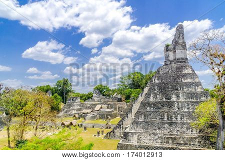 Panorama of Tikal Maya temple ruins and pyramid