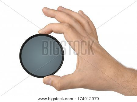 Hand with photo filter isolated on white background