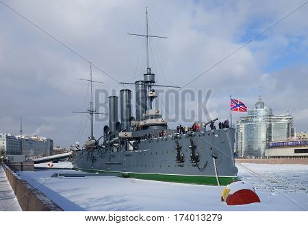 The legendary cruiser on the waterfront in St. Petersburg