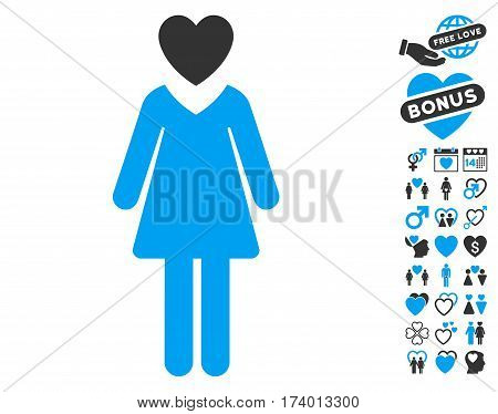 Mistress pictograph with bonus passion symbols. Vector illustration style is flat iconic blue and gray symbols on white background.