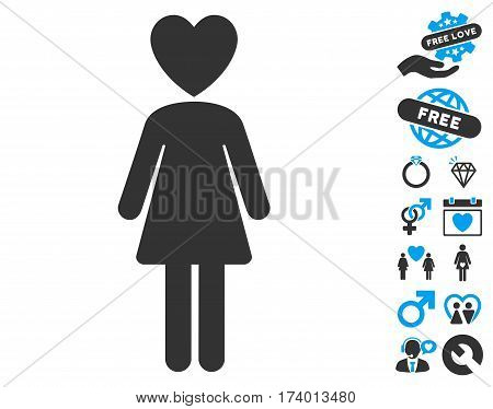 Mistress pictograph with bonus love clip art. Vector illustration style is flat iconic blue and gray symbols on white background.