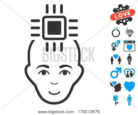 Neural Computer Interface icon with bonus love pictograph collection. Vector illustration style is flat iconic blue and gray symbols on white background.