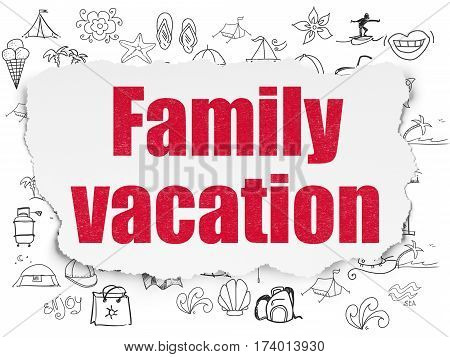 Vacation concept: Painted red text Family Vacation on Torn Paper background with  Hand Drawn Vacation Icons