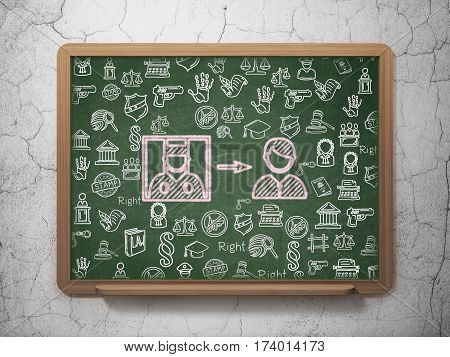 Law concept: Chalk Pink Criminal Freed icon on School board background with  Hand Drawn Law Icons, 3D Rendering