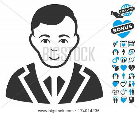 Noble icon with bonus dating design elements. Vector illustration style is flat iconic blue and gray symbols on white background.
