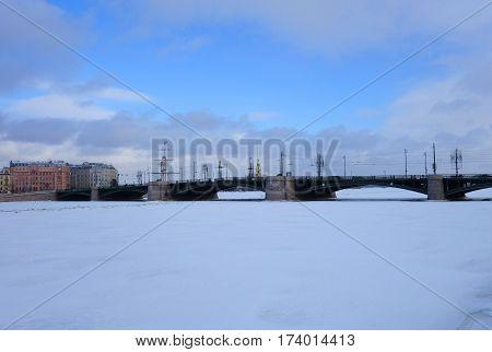 Winter Day and Exchange bridge in St. Petersburg