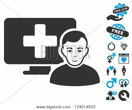 Online Medicine icon with bonus romantic graphic icons. Vector illustration style is flat iconic blue and gray symbols on white background.