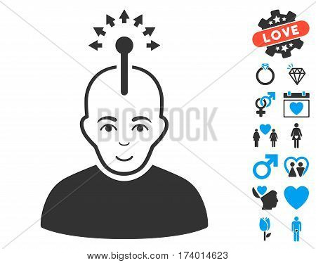 Optical Neural Interface pictograph with bonus valentine symbols. Vector illustration style is flat iconic blue and gray symbols on white background.