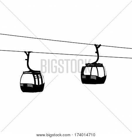 Silhouette of two air cable cabins vector illustration.