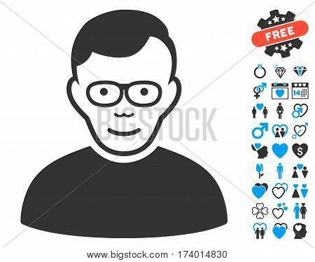 Pensioner pictograph with bonus passion images. Vector illustration style is flat iconic blue and gray symbols on white background.