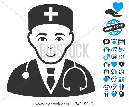 Physician icon with bonus love images. Vector illustration style is flat iconic blue and gray symbols on white background.
