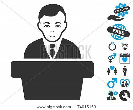 Politician pictograph with bonus romantic design elements. Vector illustration style is flat iconic blue and gray symbols on white background.