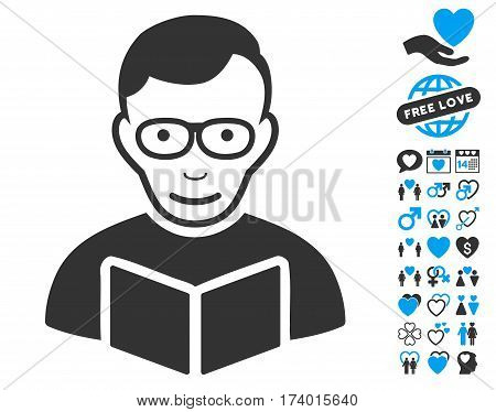Reader icon with bonus decoration pictograph collection. Vector illustration style is flat iconic blue and gray symbols on white background.