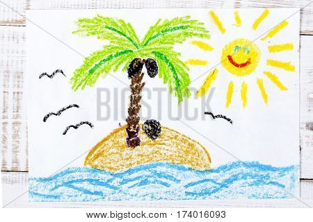colorful drawing - a desert island and happy sun
