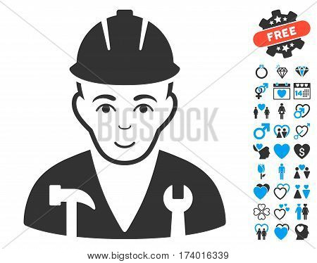 Serviceman icon with bonus decorative pictograms. Vector illustration style is flat iconic blue and gray symbols on white background.