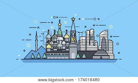Stock vector illustration background icon linear style architecture buildings and monuments town city country travel printed materials, Russia Moscow, Russian culture, landscape, Kremlin, capital