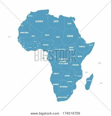 Vector y foto simple flat blue map africa bigstock simple flat blue map of africa continent with national borders and country name labels on white gumiabroncs Choice Image