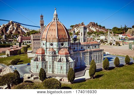 Rimini, Italy - May, 2011: The miniature of Cathedral of Santa Maria del Fiore in Firenze in Park of miniatures in Rimini, Italy