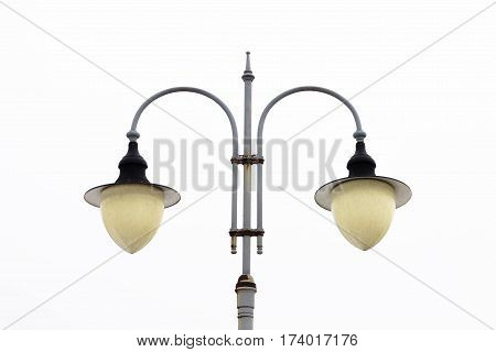 Street Post-lamp With Two Shades.