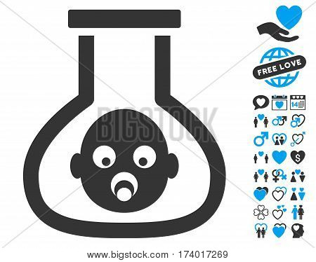 Test Tube Baby icon with bonus dating graphic icons. Vector illustration style is flat iconic blue and gray symbols on white background.