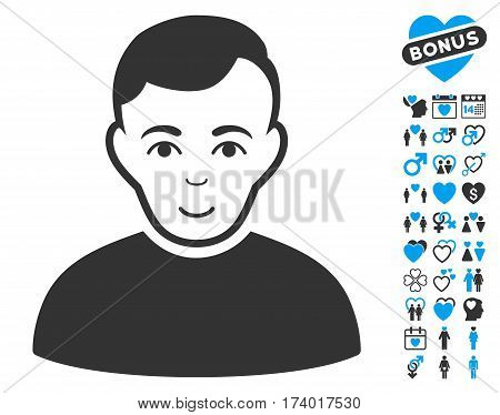 User pictograph with bonus amour pictograph collection. Vector illustration style is flat iconic blue and gray symbols on white background.