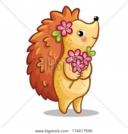 Cute hedgehog with bouquet of flowers. Vector illustration on the theme of love. The animal in the childrens style.
